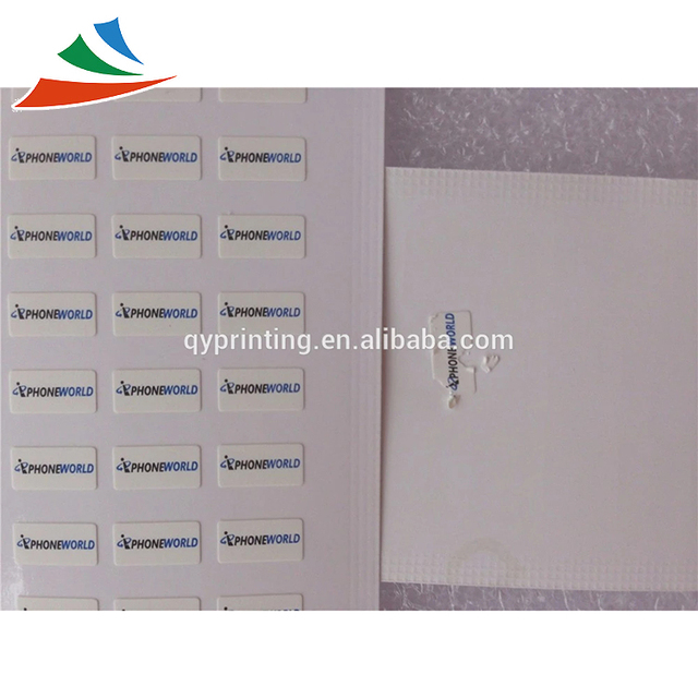 Personalized fragile paper stickers mobile phone warranty seals label self adhesive destructible labels