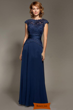 2014 Dark blue Scoop Neckline Lace Chiffon Cap Sleeves Mother Of The Bride Dresses Floor-Length Mommy Dresses