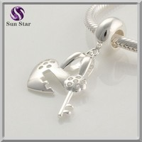 925 sterling silver heart lock and key dangle clip charm