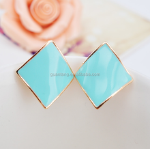 New diamond-shaped alloy earrings without ear hole ear clip Yiwu Drops earrings