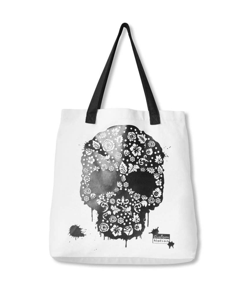 Wholesale DIY Custom Beach Blank Skull Standard Size Cotton Canvas Women Tote Bag with Color Pens