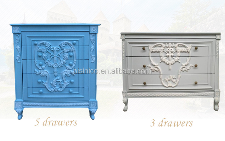 French Provincial Vintage Grey Blue Wooden Chest Of Drawers Bedroom Furniture/ European Antique Hand Carved Commode Cabinet