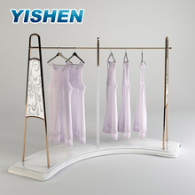 Elegant lady dress exhibition garments shop clothes hanger arc lighter metal floor display stand