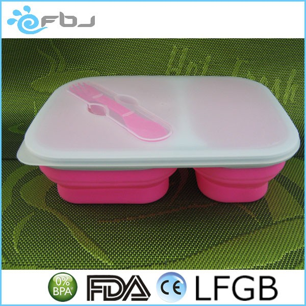Silicone Collapsible Lunch Box With Cutlery