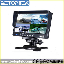 4 AV input, car 7 inch tft lcd quad monitor, 4 camera split screen (BTM-720)