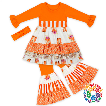 halloween costumes for kids fall long sleeve bell bottoms pant pumpkin boutique clothes