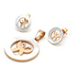 Fashion Stainless steel gold plating jewelry set women with shell joyas en acero inoxidable( pendant+earring)