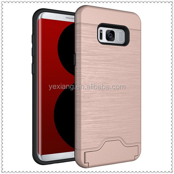 5 colors brush armor case for samsung galaxy s8 case cover with stand