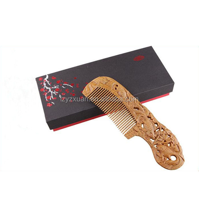 Finely processed magic fancy design mens wooden comb for promotional gift