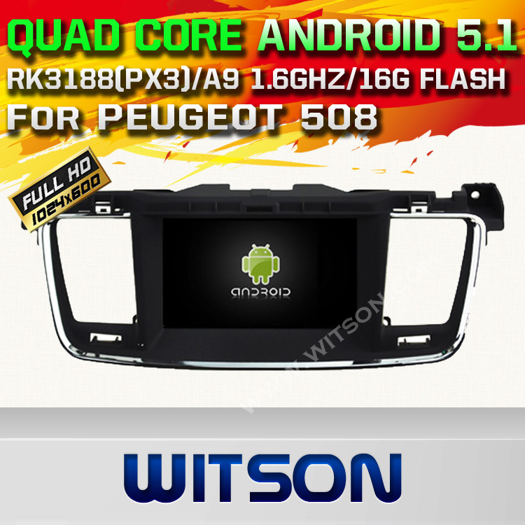 WITSON Android 5.1 CAR DVD PLAY For PEUGEOT 508 WITH CHIPSET 1080P 16G ROM WIFI 3G INTERNET DVR SUPPORT