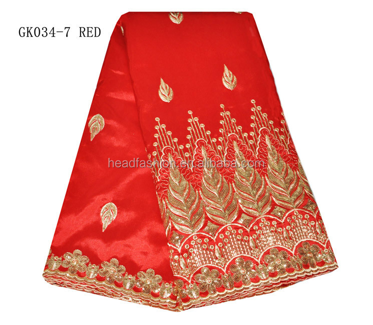 GK034-7--red---High fashion style raw silk indian african george fabric