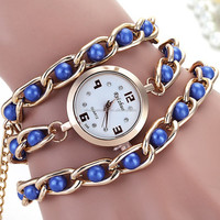 wholesale lady pearl stainless steel chain oval dial diy wrist watch