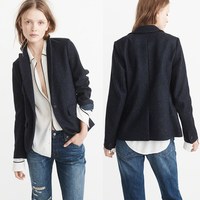 Fashion Ladies high quality single breasted front pocket full lining straight hem Classic blazer