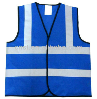 blue reflective safety vest 100% polyester