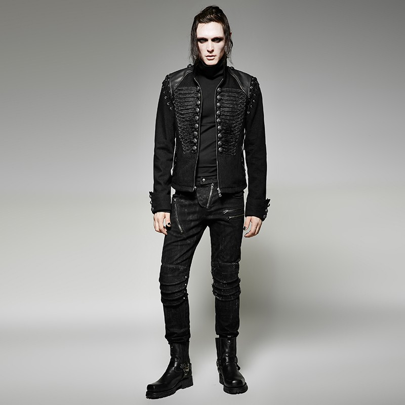 Y-721 Steampunk men black rugged denim fabric removable sleeves short jacket