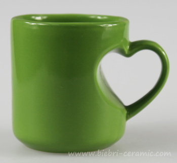 300ml Green Color Glazed Love Heart Handle Shape Ceramic Stoneware Coffee And Tea Mugs And Cups