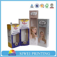 Best Selling Wholesale Custom Design Paper Hair Extension Packaging Box with pvc window