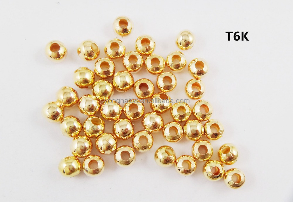 High Quality Cheap Price Gold Silver Plating Round Metal Beads With Hole For DIY Handmade Jewelry Accessories