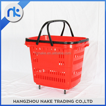 Collapsible Plastic Folding Shopping Basket With Wheels