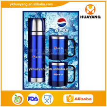 customized stainless steel flask coffee mug business gift set with logo design (HY-E015 500ml vacuum flask+200ml travel mug)