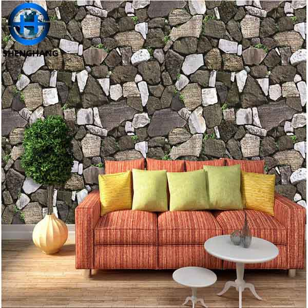 Fireproof wallpaper wall art decoration fancy design 3d brick /stone wallpaper in china
