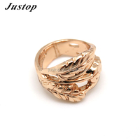 Latest Pure and transparent Alloy gold plating leaves design jewelry fashion rings