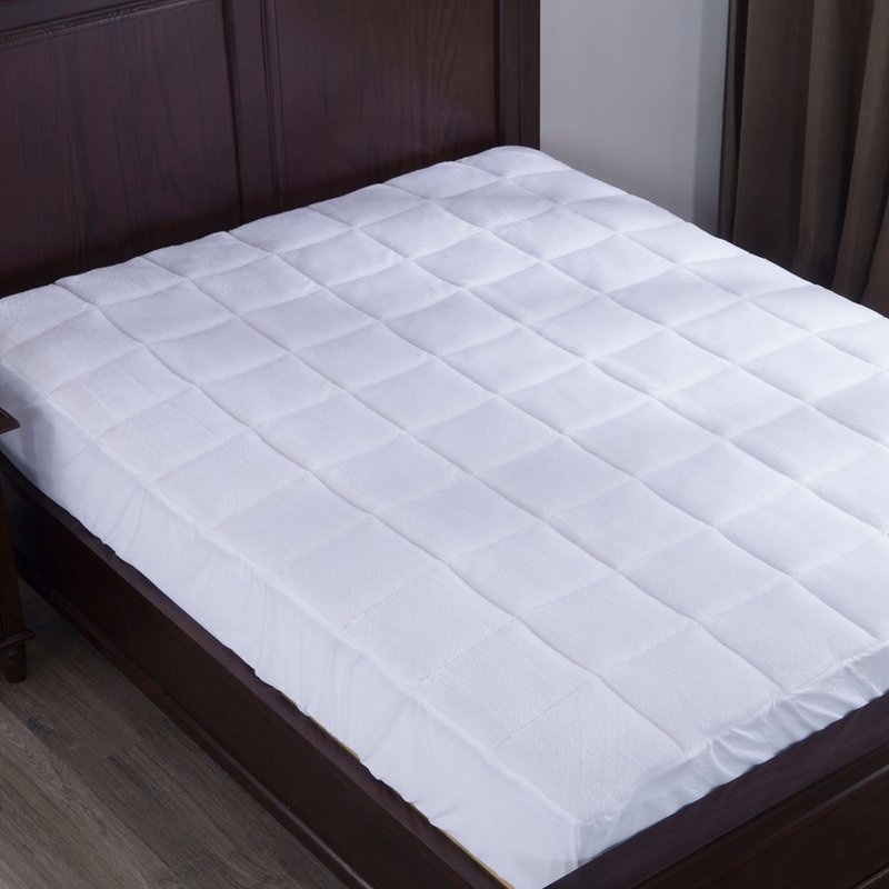 Coral Fleece Fabric with Deep Pocket White Quilted Mattress Pad - Jozy Mattress | Jozy.net