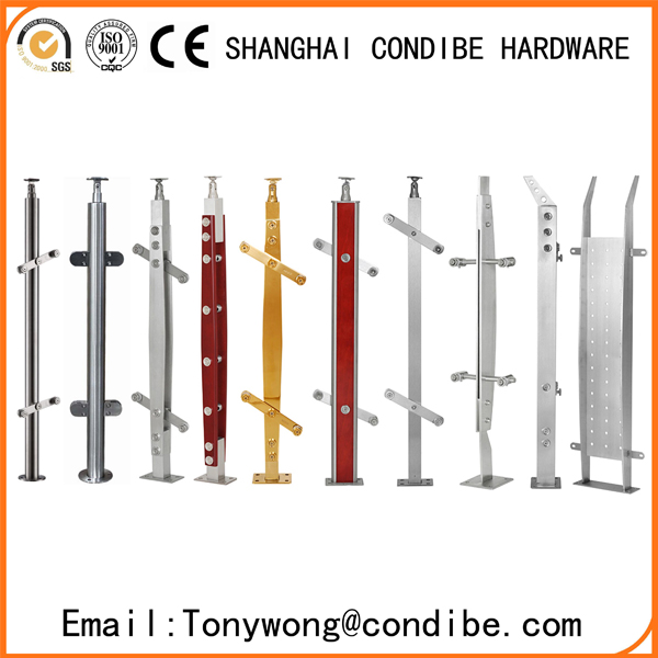 Condibe stainless steel/PVC handrail with glass/rod railing pillar