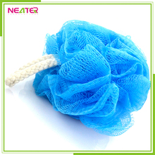 new fashion colorful PE plastic mesh body sponge bath with soft lace edge