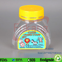 300ml clear pet plastic candy contianer play dough container with tamper proof cap for plastic candy container supplier