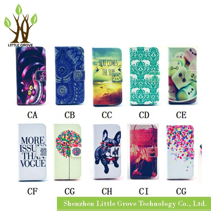 High quality For Samsung Galaxy S4 mini i9190 Painted Series Flip Wallet Leather Case with Holder Free Shipping