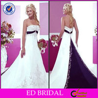 2015 New Fashion Ball Gown Strapless Beaded Embroidered Purple and White Wedding Dresses