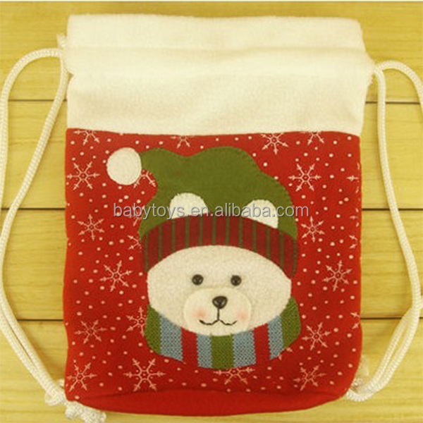 Christmas stocking with embroidery pattern, plush christmas stocking/sock,decoration