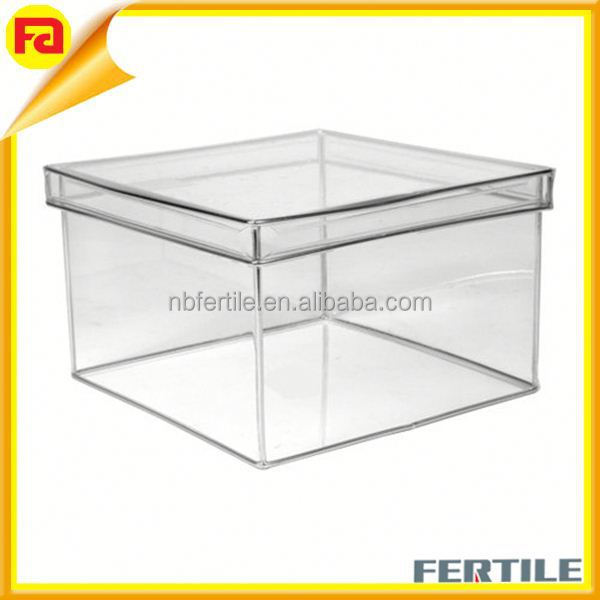 Plastic Storage cube,organizer box with lid, Square, Large, Clear