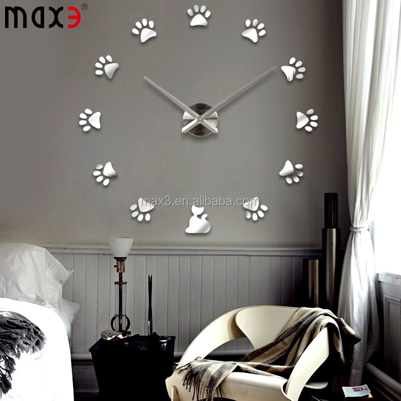 12S017 dog footprint handmade with childern's room decor diy wall clock
