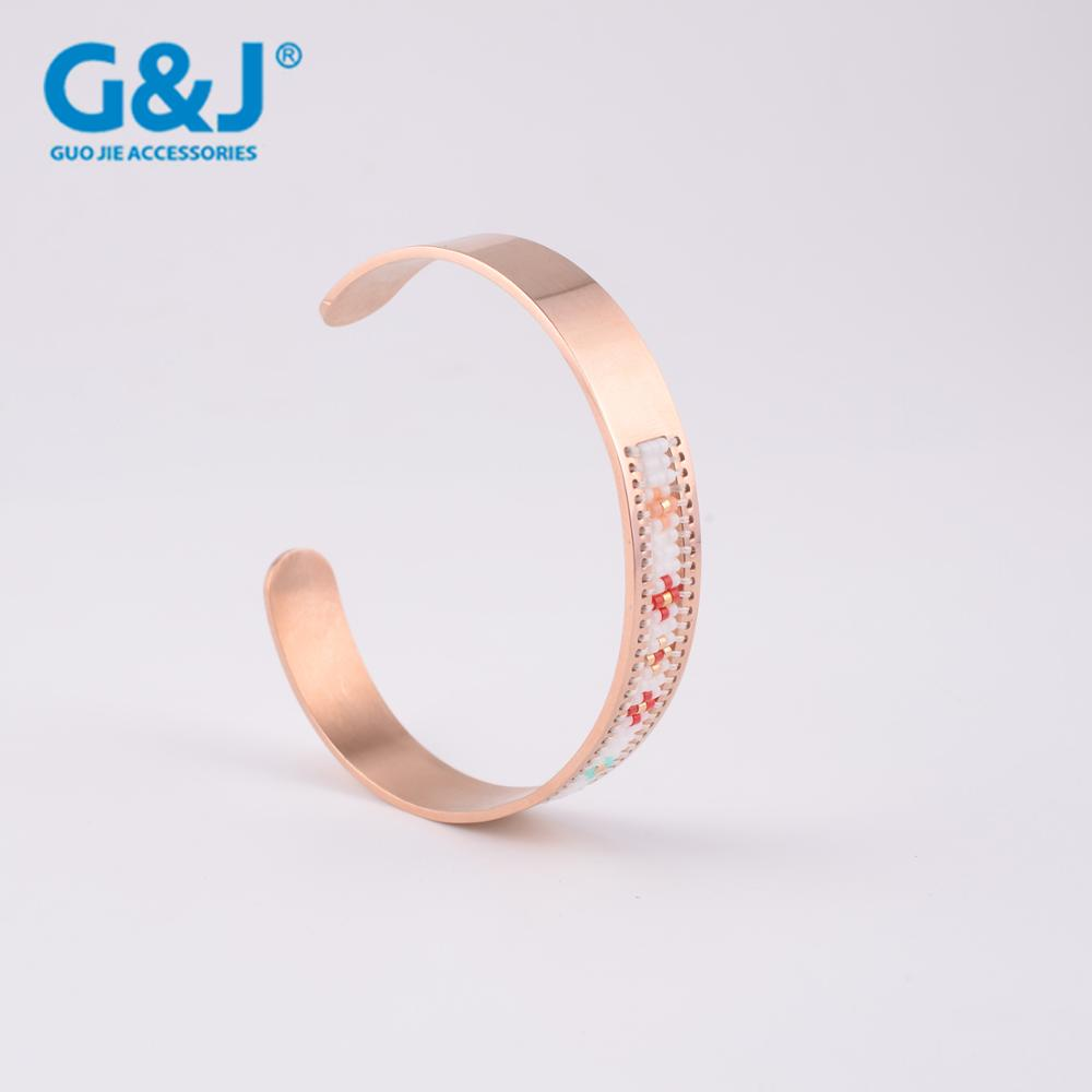 GuoJie brand wholesale fashion jewelry 18k gold plated bangles stainless steel bangle bracelets