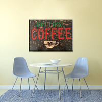 led Wood plaques coffee pictures light up art work wall art for restaurant digital print on wood decorative painting wholesale
