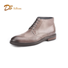 Fashion men boots china oem brand wholesale lace up motorcycle leather ankle boot