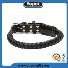 Wholesale Personalized High Quality Leather Round Braided Dog Collar
