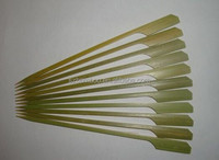 Green skin bamboo stick with handle,barbecue skewers with handle
