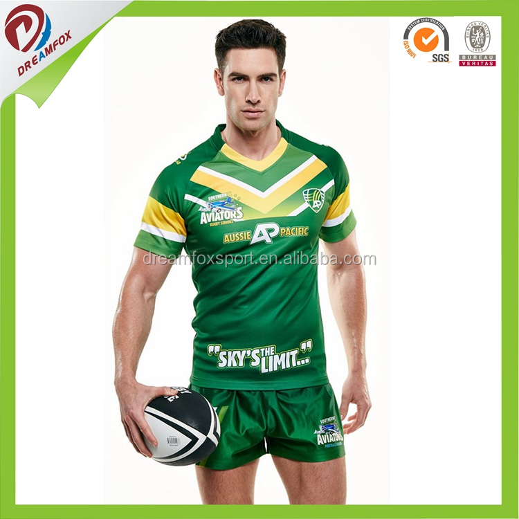 wholesale China factory rugby jersey green and yellow
