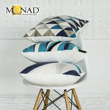Monad designer geometric blue and white cushion covers online pillowcases for throw pillows