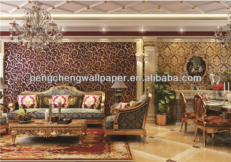 Lastest design decorative modern gold metallic wallpaper