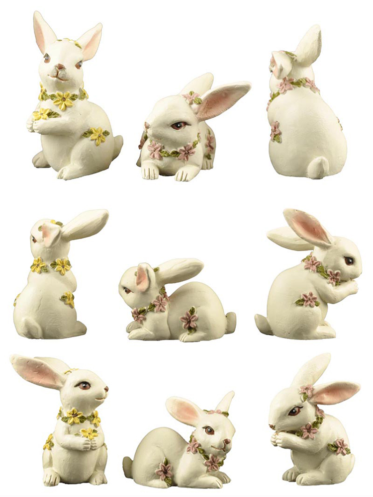 Holiday garden resin long ear easter gift rabbit with wildflowers