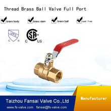 "USA eco-friendly copper forged two piece body 3/4"" red handle insert female thread full port brass ball valve DN20"
