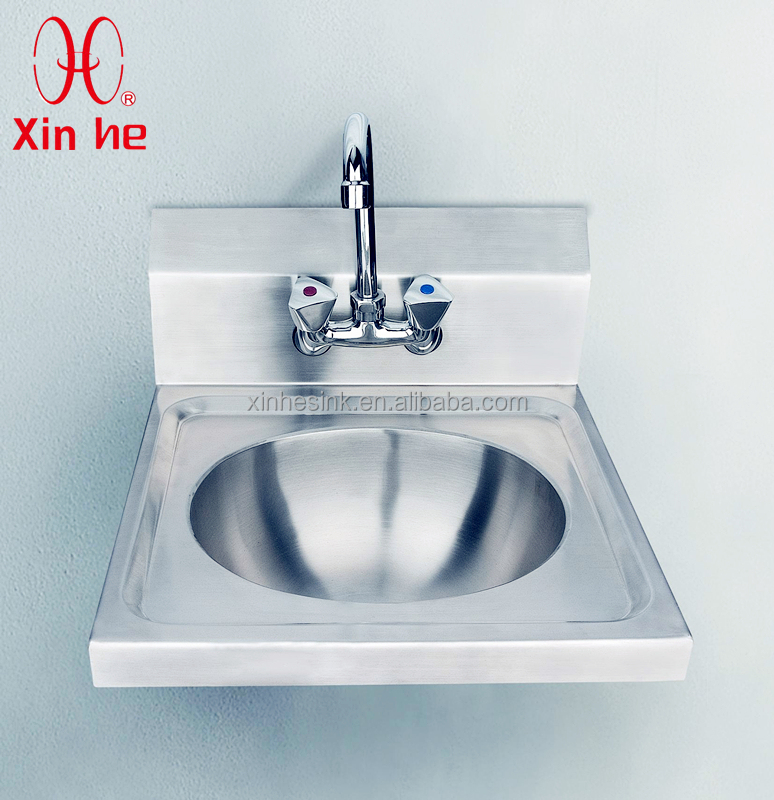 Stainless Steel Wall Hung Commercial Hand Washing Sink with Backsplash and Tap hole for Public Use