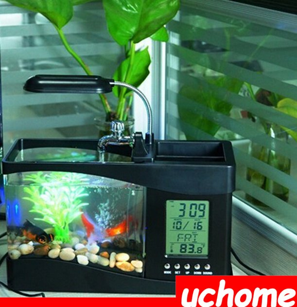 UCHOME Mini Aquarium Fish Tank With USB LCD Desktop / LED Clock Aquarium Decoration / USB Desktop Mini Aquarium