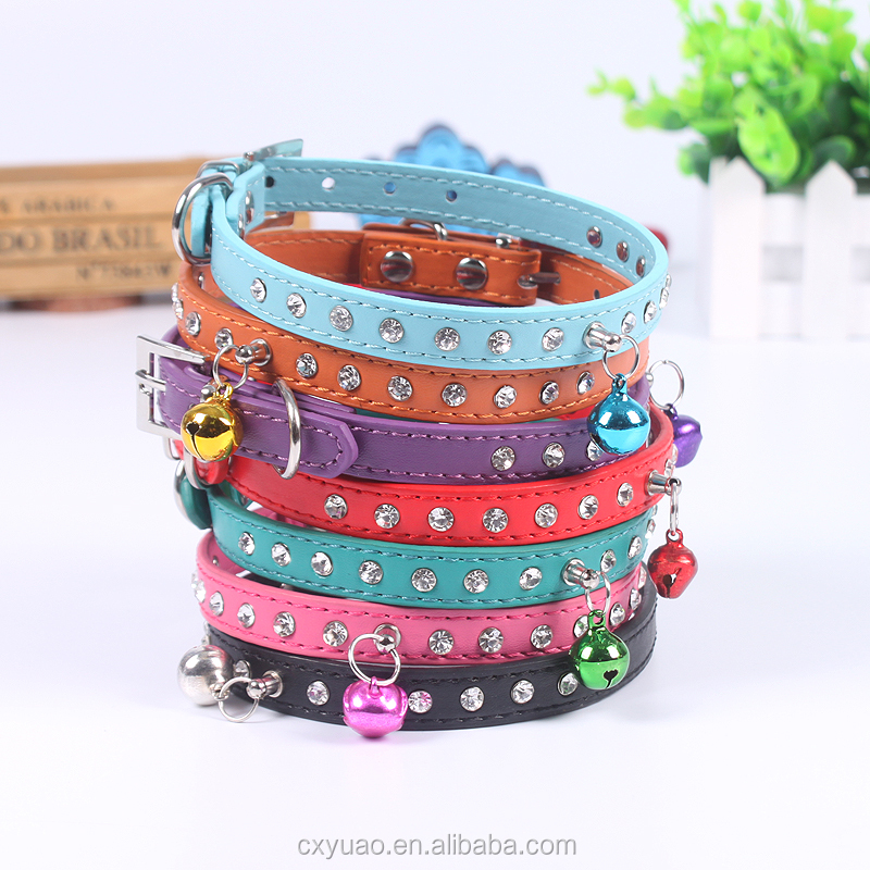 DIY pet accessories soft pu faux leather dog training collars with bell