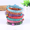 Pet PU leather posture collar with nice bell rhinestone dog collars