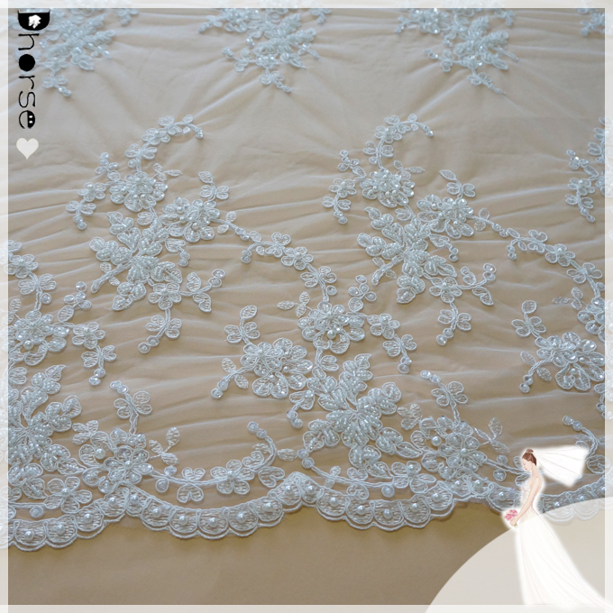 New fancy design dhorse bridal lace/DH-BF 765 wedding embroidery lace fabric/white & ivory motif embroidery lace fabric